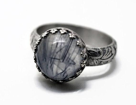 rutilated quartz ring grey gemstone ring sterling by