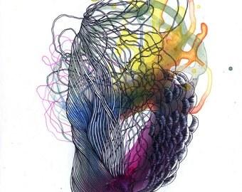 Element XIX archival digital print / abstract organic mixed media painting / micro macro / botany / plants / organic drawing / purple /