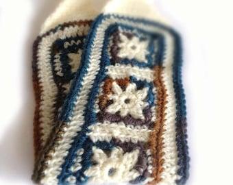 Crochet Headband, Boho Knit Hairband Teal and Ivory White Wool Acrylic Mix