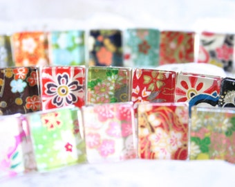 5 Chiyogami Square Rings - Assorted BULK (5 pieces)