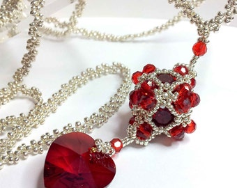 Beautiful Beaded Necklace - Swarovski Heart and Beaded Cube - Aphrodite - Red - Silver - Hand stitched by Tracey Lorraine