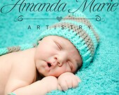 Crochet Elf Hat with braid, longtail elf hat, turquoise blue and grey, Newborn to 12 Months, photography prop