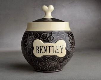 Dog Treat Jar Made To Order Squares Black w/White Trim Treat Jar by Symmetrical Pottery
