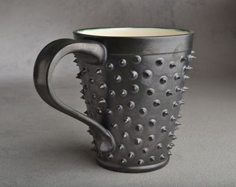 Spiky Mug Made To Order Black and White Dangerously Spiky Mug by Symmetrical Pottery