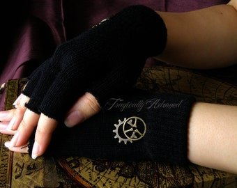 Black Steampunk Cut Off Gear Gloves One Size Fits All