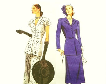 Chic Vintage 1940s Suit Pattern Vogue 1072 Uncut Size 4 - 10 Reissue