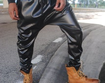 Black Perforated Leather Drop Crotch Harem Pants / Mens Harem Pants / Mens Joggers / Stash Pocket Handmade by GAG THREADS