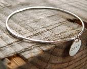 Personalized skinny bangle, skinny silver bangle, charm bangle, personalized bracelet, initial charm bangle