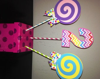 Sweet Shoppe or Candyland Centerpiece Picks