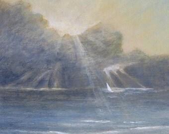 Original acrylic painting storm at sea ocean waves sky cloud sailing light shafts