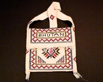 Bhutan Tote Bag Vintage Hippie Shoulder bag Travel tote Royal Kingdom of Bhutan boho Ethnic folk embroidery Jacquard Woven 1980s 1990s