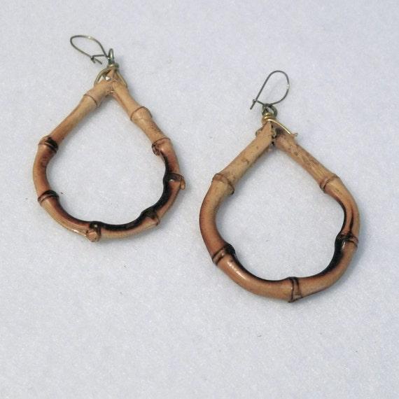 bamboo earrings hoop tiki earrings real wood by plattermatter