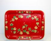 Red Serving Tray, Vintage Red, Green & Yellow Enamel Metal Tray - Retro Floral Decorative Metal Platter