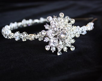 RHINESTONE  BRIDAL  HEADBAND  with a Snowflake Brooch and Swarovski Crystals, Winter Wedding, Wedding Headband, Hair Accessory