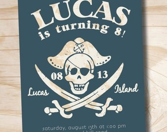 VINTAGE PIRATE Boys 6th, 7th, 8th, 9th 10th Birthday Party Event Printable Invitation - Digital File