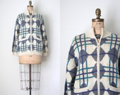 unisex wool zip cardigan sweater - graphic pattern / Charcoal Gray & teal - mock turtleneck / Manos del Uruguay - winter