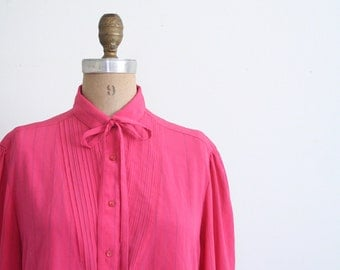 vintage 80s pinstriped secretary blouse - neck bow blouse / 80s hot pink blouse with pintucked bib / vintage 1980s ladies dress shirt