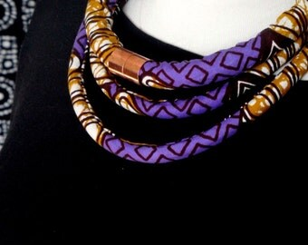Purple Wax Print with Copper Neck Rope Necklace