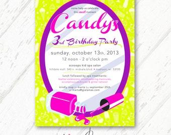 Little Girl Salon Birthday - Mani Pedi Birthday - Ice Cream, Neon Green, Hot Pink, Purple Invitations