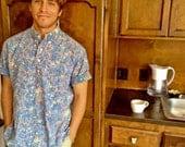 Reyn Spooner 70s Blue Floral Aloha Shirt Mens