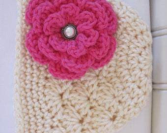 Baby Hat - Crochet Hat - Girls Hat - Winter Hat - Newborn Hat - Toddler Hat - Off White Cream Hat with Flower - Baby Girl Winter Hat