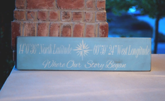 Where Our Story Began -Latitude and Longitude Wood Sign - Wedding Gift - Anniversary Gift - Wedding Decor -Home Decor - You Pick Colors