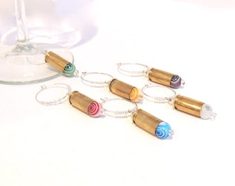 BULLET WINE CHARMS - set of 6 - purple, aqua, red, green, yellow, white - eco-friendly/upcycled/recycled gifts - under 20 dollars