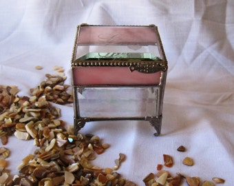 Glass Box, Beach Themed Wedding, Jewelry Box, Engraved, Bridesmaid Gift, Ring Bearer Box, Glass Box, Destination Wedding, Fall Wedding