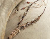 Spirit Quartz crystal healing necklace with Amethyst, Sunstone, Clear Quartz, no metals, macrame necklace in brown and purple