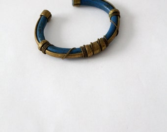 vintage brass cuff, blue bohemian bracelet