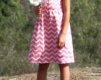 ON SALE Girls Dress Day Dress Cinch Waist Pink Chevron Dress Sizes 2t - 8y Available