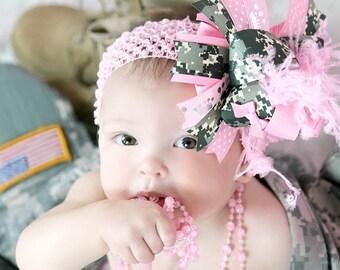 Military Princess Over the Top Boutique Hair Bow Headband - You Choose Bottlecap