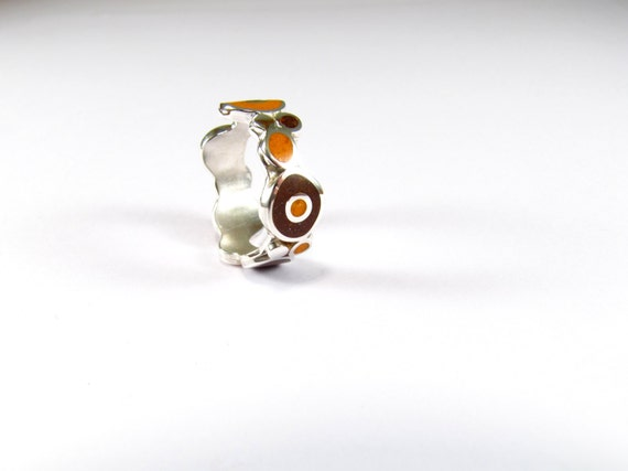 Sterling Silver Ring, Colorful, Bubbles, Orange, Chocolate, Contemporary, Modern