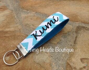 Personalized Key chain /  Monogrammed Chevron Key Fob / Camera Strap / Fabric Keychain/ Teacher gift
