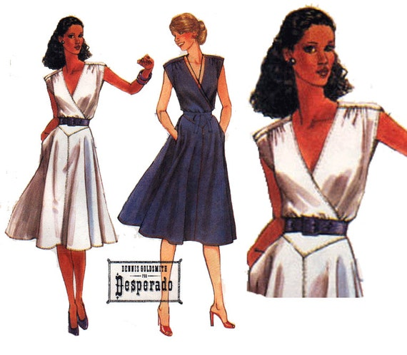 """80s DRESS Sewing Pattern with WRAP Bodice and Front YOKE Skirt Vintage Pattern Size 12 Bust 34"""" (86 cm) - McCall's 7048"""