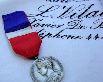 Authentic Vintage French Gilded Silver Medal Republique Francaise France Paris Vintage Silver French Flag 114