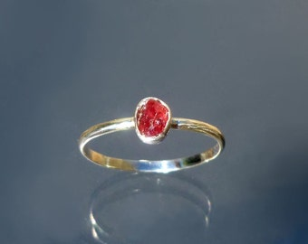 Red Sapphire Stack Ring Natural Raw Crystal set in Recycled Silver Ruby Stackable Ring