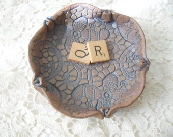 Ceramic Soap Dish, Metallic Red Brown Clay, Stamped with Vintage Lace
