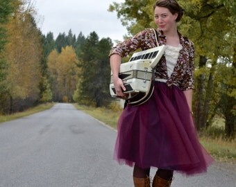Sugarplum Women's Tulle Skirt // Purple - Deep Plum Tutu Skirt  // Elastic Waistband // Midi Hem