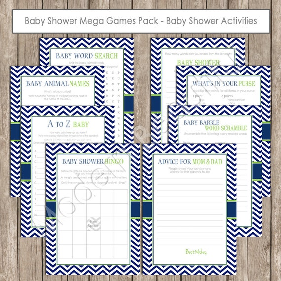 navy and lime green baby shower game pack games and activity shower