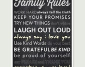 Typographic Family Rules art print