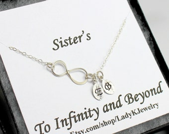Sister's Infinity Necklace w/ Engraved Sister's Initials Leaf Charm -Jewelry Gift Box Special Sister Gift Card -Sterling Infinity Necklace