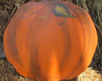 Large Round Wooden Pumpkin