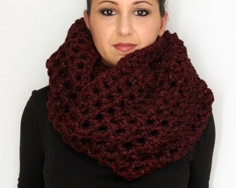 Burgundy Sparkle Infinity Scarf, Oversized Chunky Cowl, Snood in Deep Burgundy Red, Winter Accessories READY TO SHIP