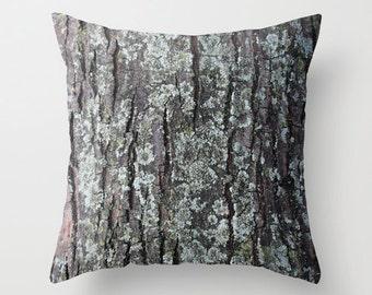 Oak Tree Bark Pillow Cover, Camouflage Pillow Case , Camo Pillow Cover