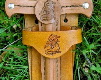 DAGGER & sword BELT set w/ Dragon Emblem - Handmade Leather