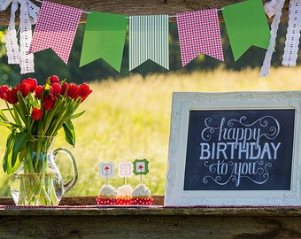 Watermelon Picnic Collection: Printable Flag Banner (Personalization Optional)