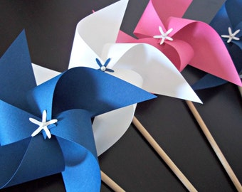Nautical Paper Pinwheels. Pink, White & Navy Blue. Party Favors. Baby Shower, Birthday. (set of 10)