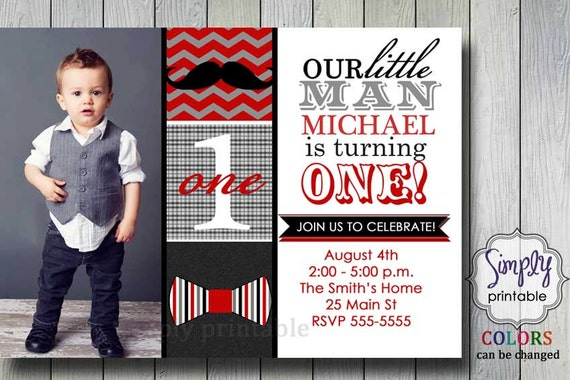 Red Little Man Bowtie & Mustache Printable Invitation