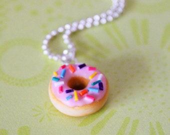 Strawberry Doughnut Necklace - Miniature Food Jewelry